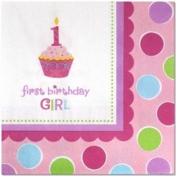 1st Birthday Cupcake Girl Paper Napkins (Pack Of 36)
