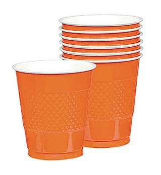 Solid Orange Plastic Cups (Pack Of 20)