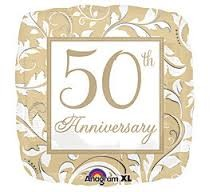 """Golden 50 Years Together Anniversary Foil Balloon - 18"""""""