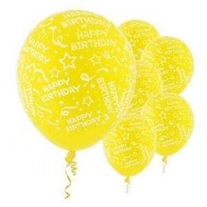 Happy B'day With Frills Latex Balloons (Yellow) - Pack of 5