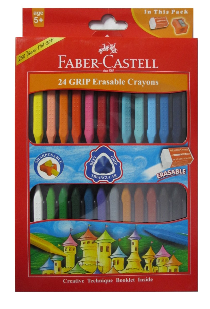 Faber Castell Erasable Grip Crayons - Pack of 24