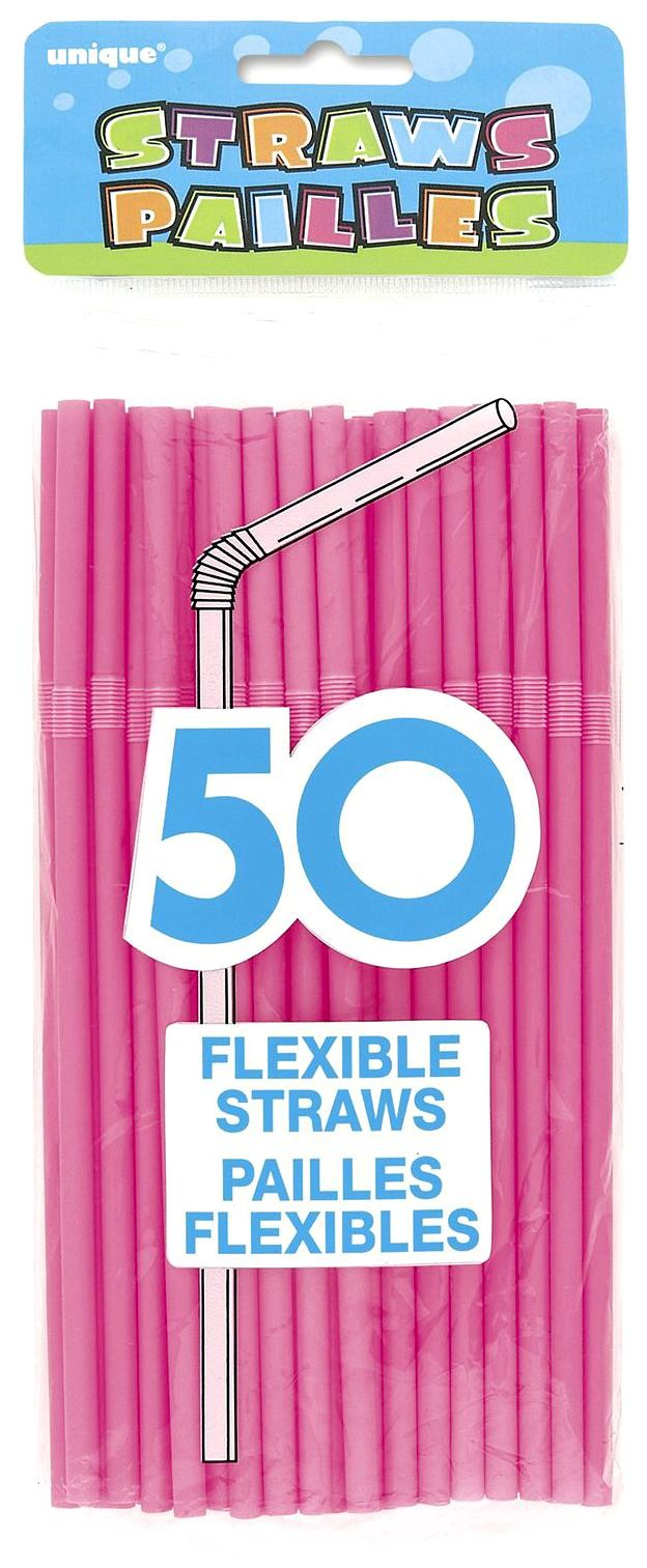 Solid Bright Pink Party Straws (Pack Of 50)