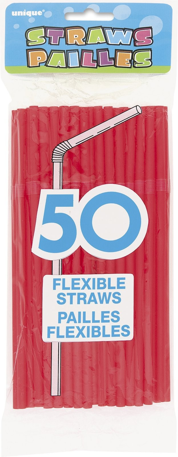 Solid Red Party Straws (Pack Of 50)