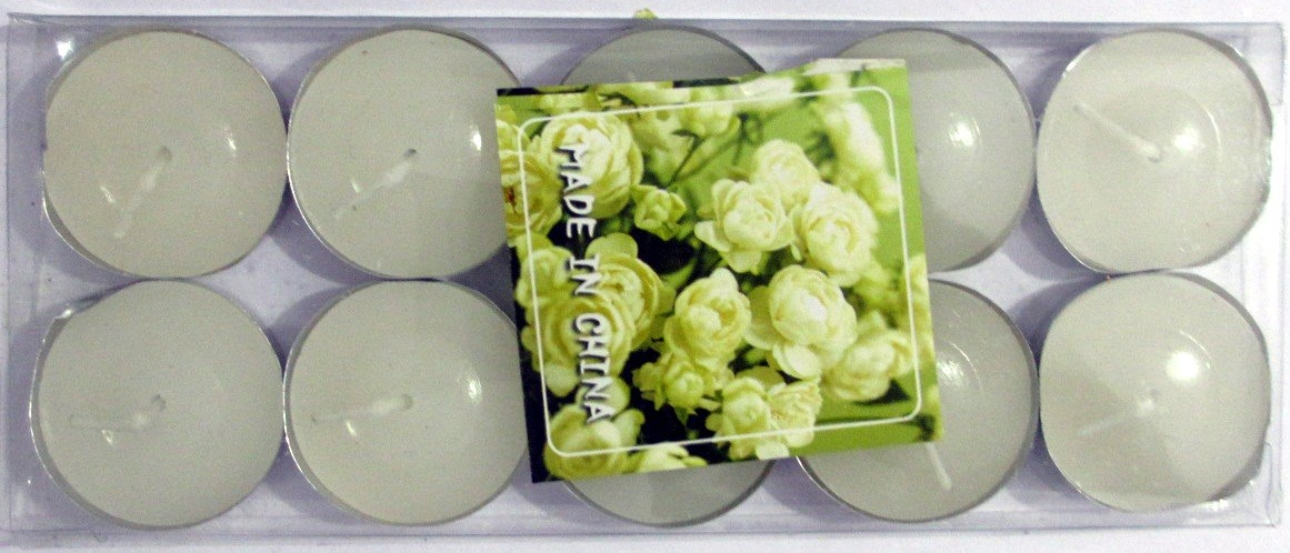 Flower Scented Candle With Metal Base (White) - Pack of 10
