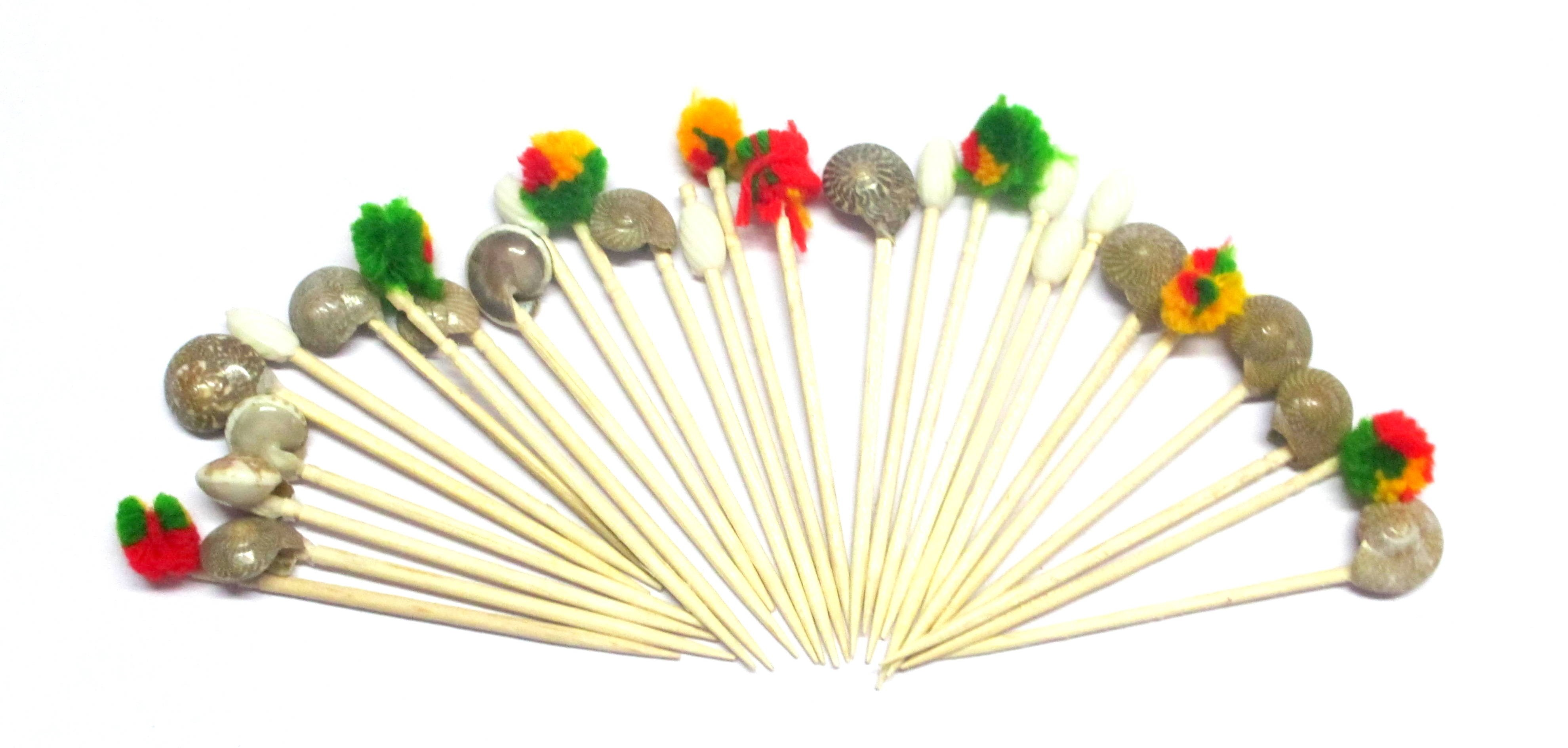 Multi Designs Beads Toothpicks (Pack Of 100)