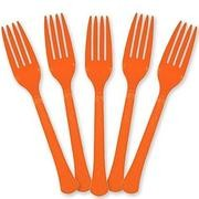 Solid Orange Plastic Party Fork (Pack Of 24)