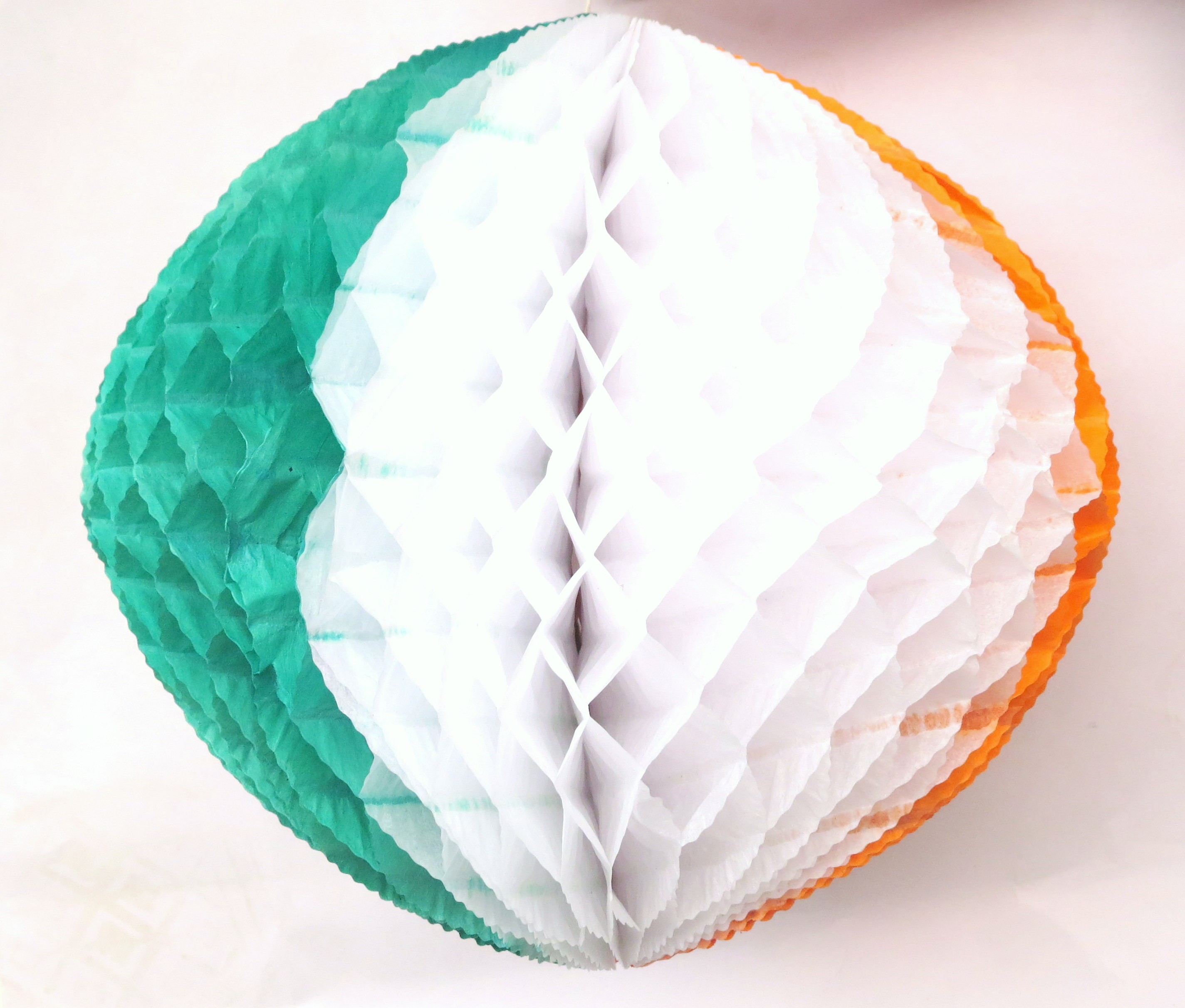 Tri- colour Honeycomb Tissue Balls (Pack Of 2) - 12""