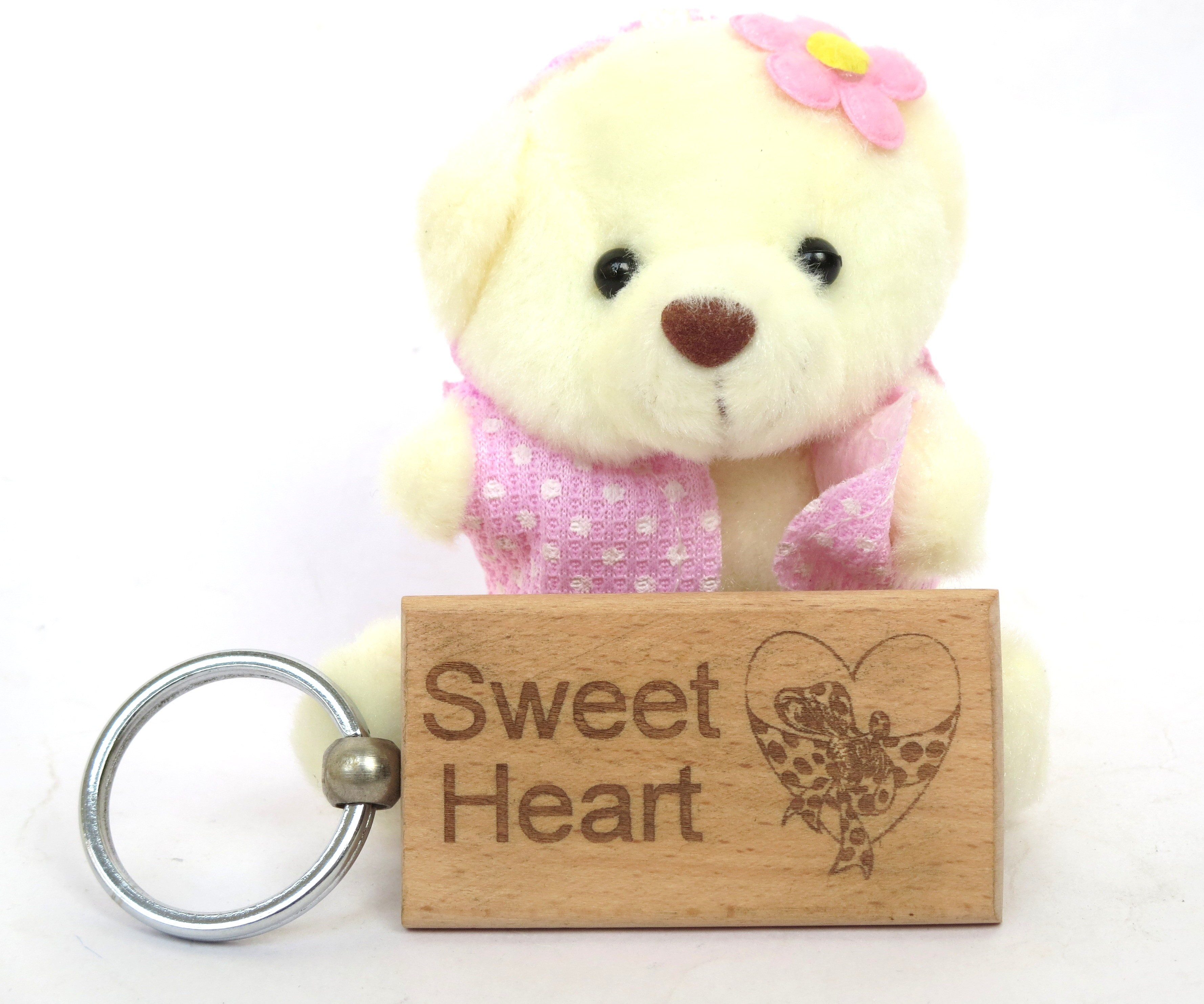 Cute Pink Teddy With Wooden Key Ring