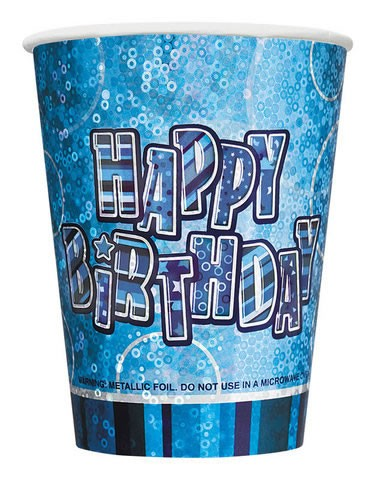 Glitz Birthday Premium Paper Cups (Blue) - Pack Of 8