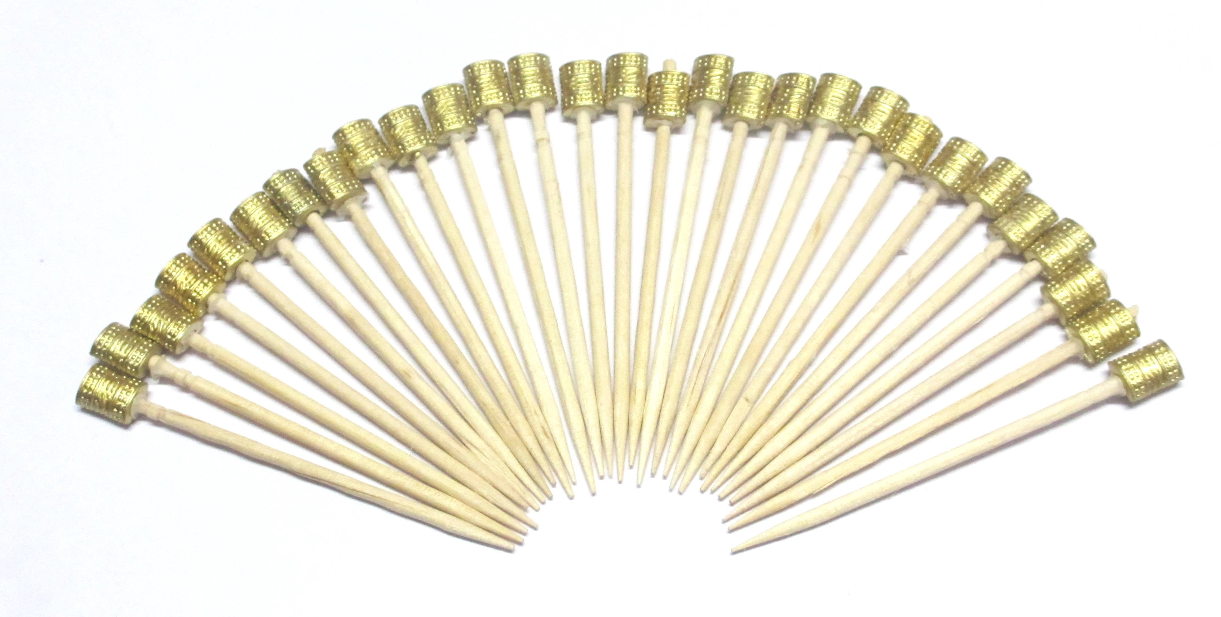 Golden Beads Toothpicks (Pack Of 100)