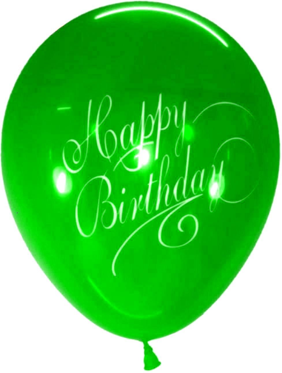 Stylish Happy B'day Latex Balloons (Green) - Pack of 5