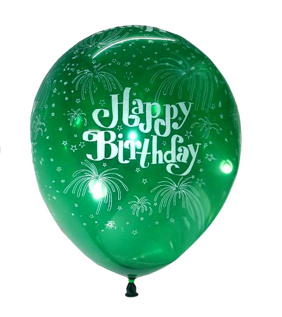 Happy B'day With Fireworks Latex Balloons (Green) - Pack of 5