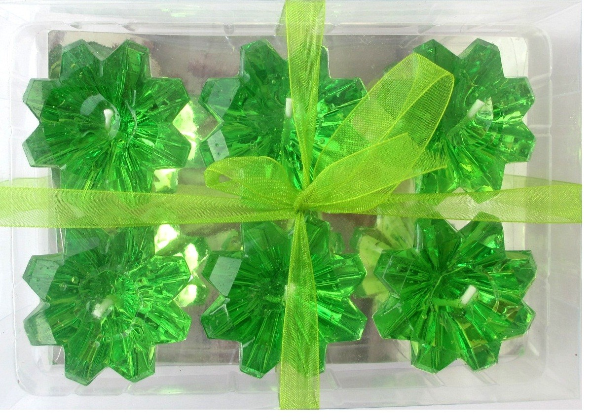 Green Diamond Shaped Floating Candles (Pack of 6)