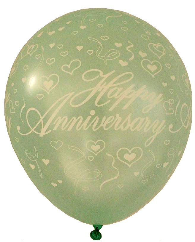 Happy Anniversary Latex Balloons (Green) - Pack of 5