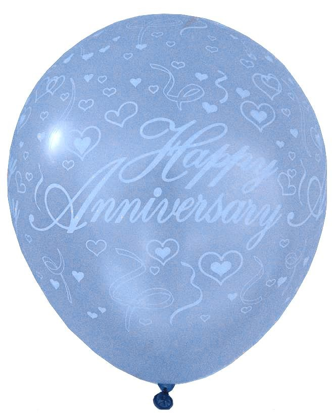 Happy Anniversary Latex Balloons (Blue) - Pack of 5