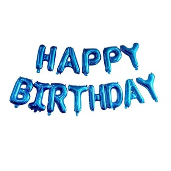 Happy Birthday Letter Foil Balloon set (Blue Color) 13 letters