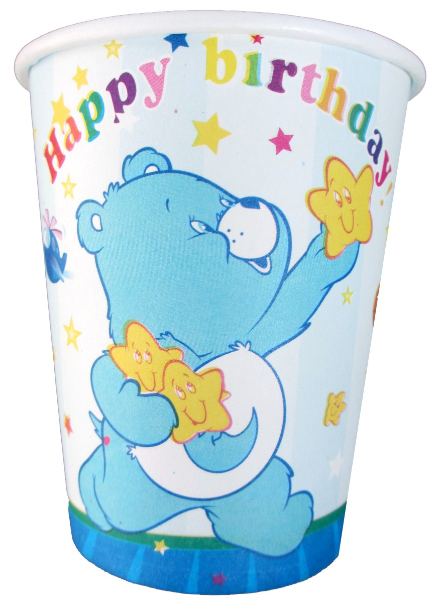 Happy Birthday Teddy Bear Cups - Blue (Pack of 10)