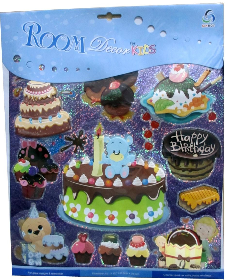 Happy Birthday With Cakes And Teddy Wall Decor