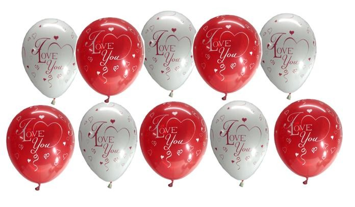 I Love You Assorted Latex Balloons - Pack Of 10