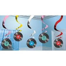 Rock and Roll Hanging Swirl Decoration - 5ct