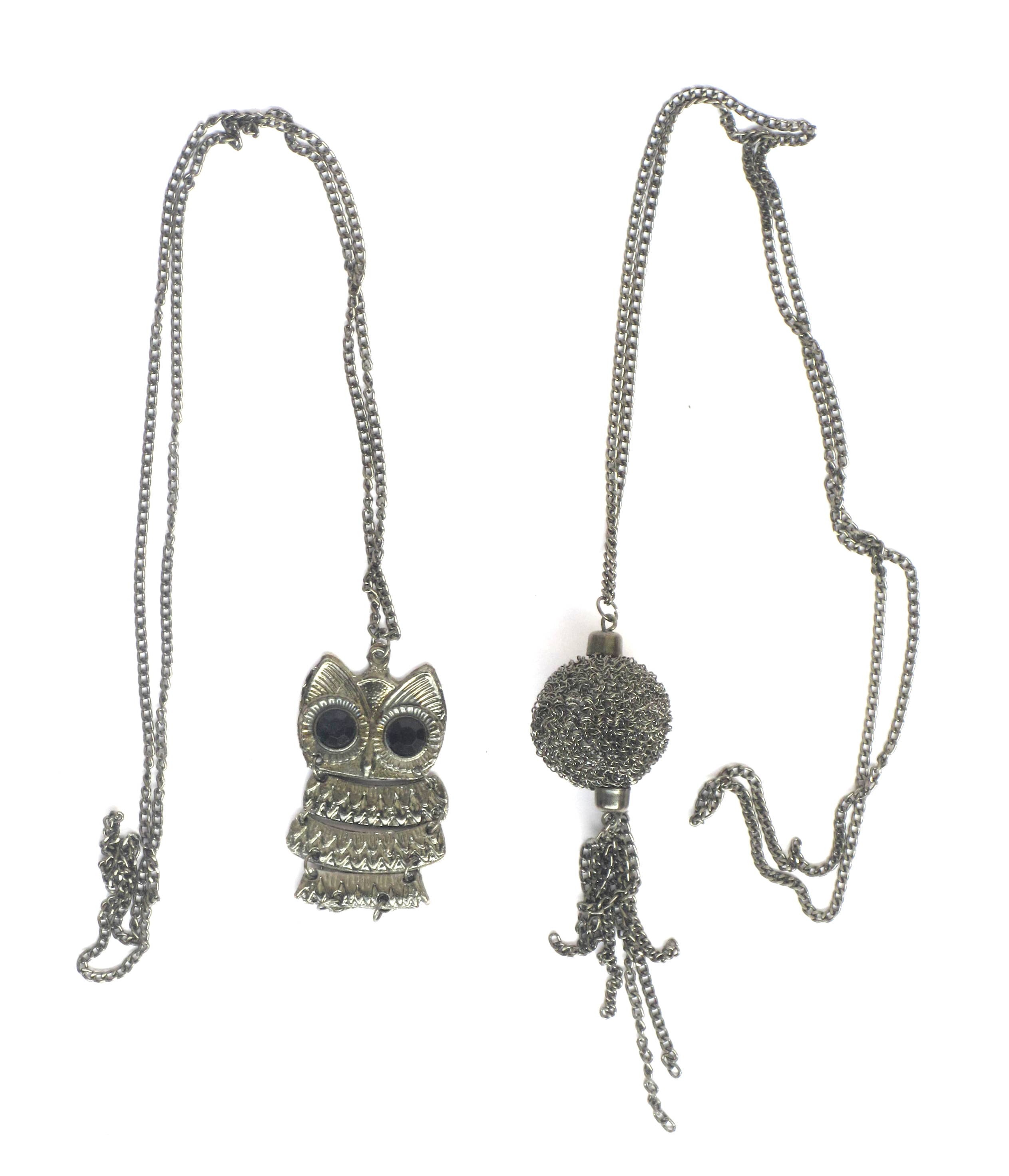 Antique Silver Toned Necklace ( Set Of 2)
