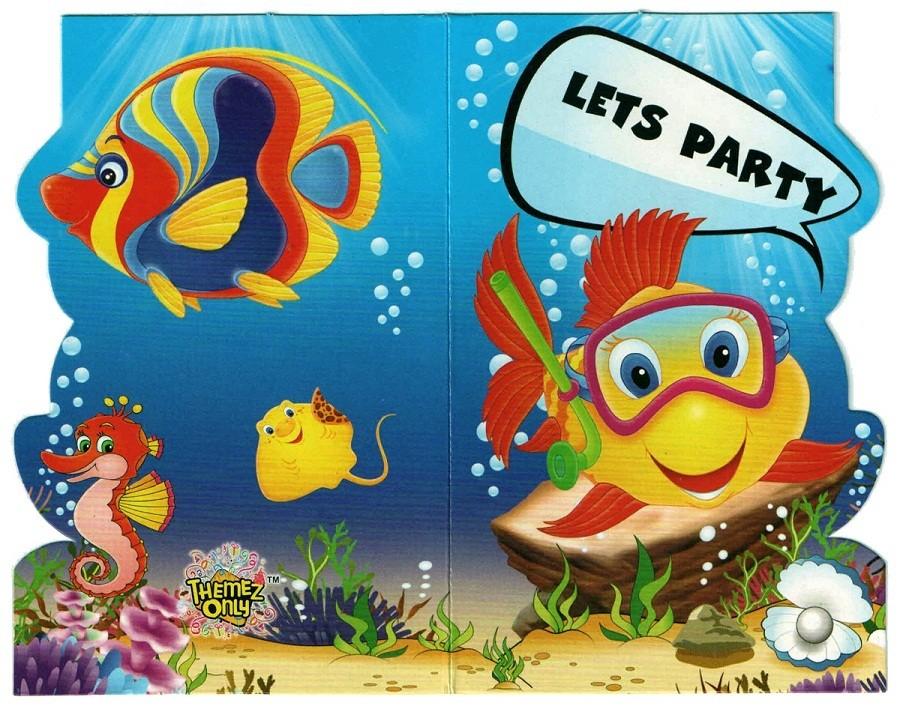 Underwater Party Invitation Cards with Envelopes ( Pack of 10)