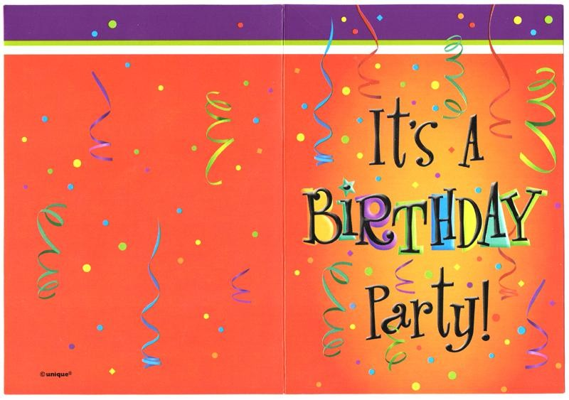 """It's a Birthday Party"" Invitation Cards - Pack of 8"