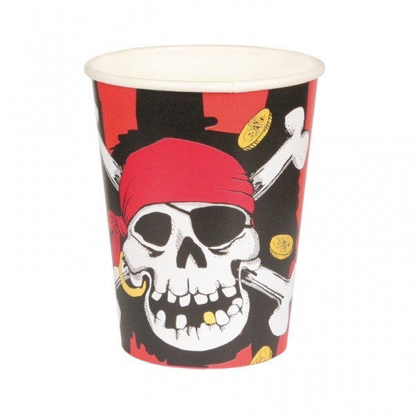 Jolly Roger Pirate Party Cups -Pack of 8