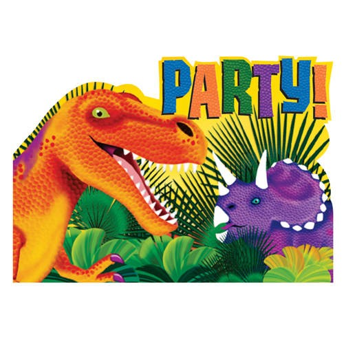 Prehistoric Party Invitation Cards With Envelopes (Pack Of 8)