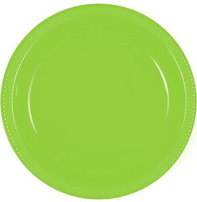 Solid Kiwi Green Plastic Dinner Plates ( Pack Of 20)