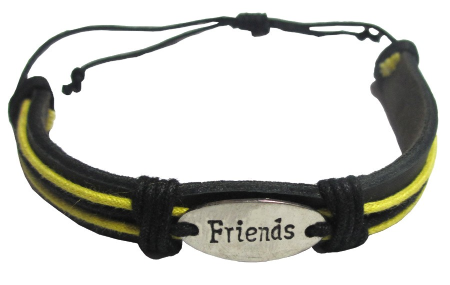 """Leather """"Friends"""" Friendship Band - Yellow"""