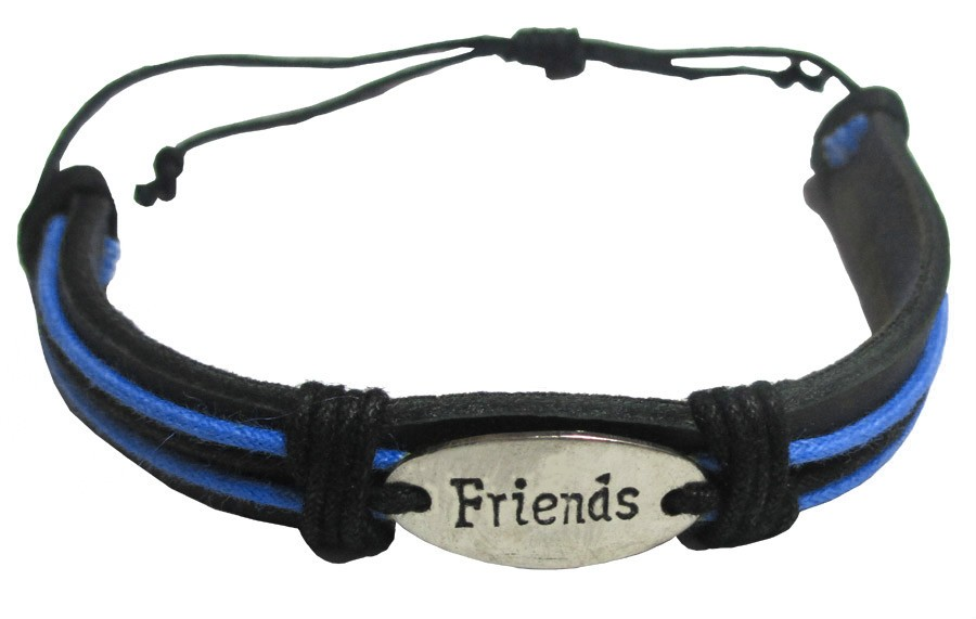 """Leather """"Friends"""" Friendship Band - Turquoise"""