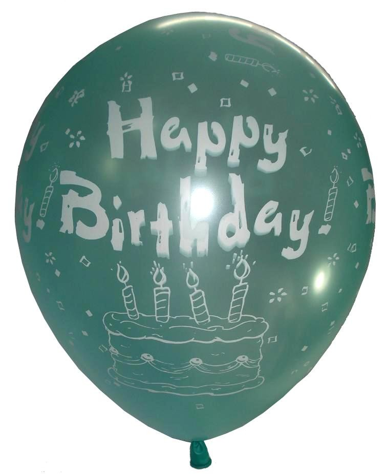 Happy B'day Cake Latex Balloons (Light Green) - Pack Of 5