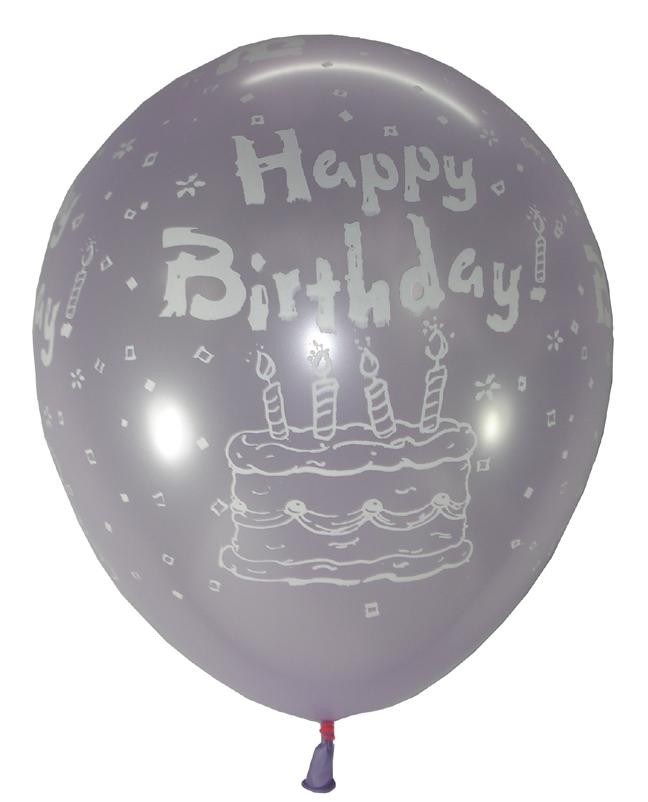 Happy B'day Cake Latex Balloons (Light Purple) - Pack Of 5
