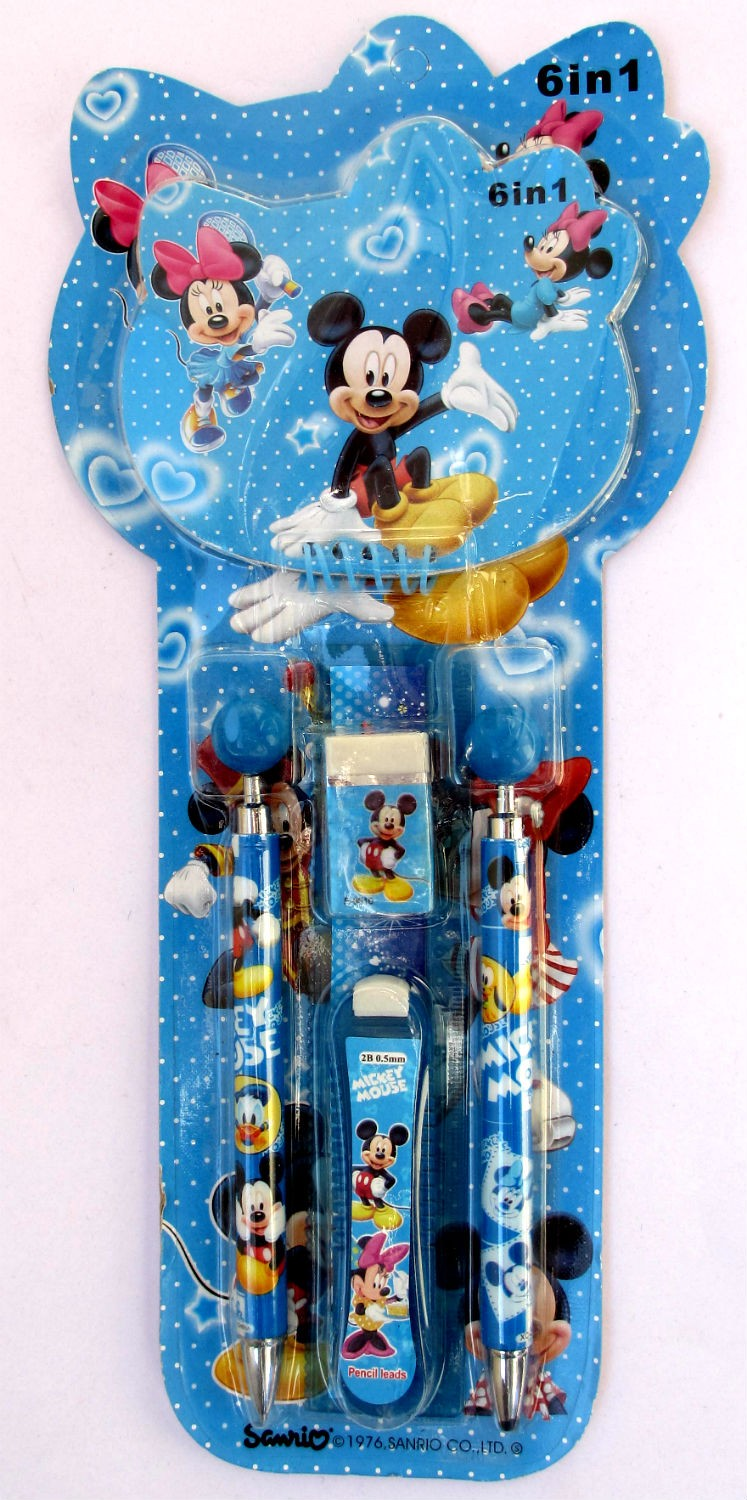 Mickey Mouse Pencil Stationery Set ( 6 in 1)