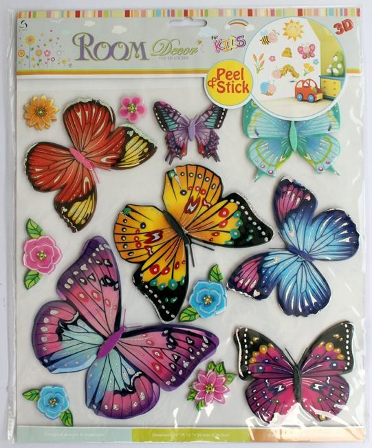 Multi Butterfly with Flowers Wall Decor