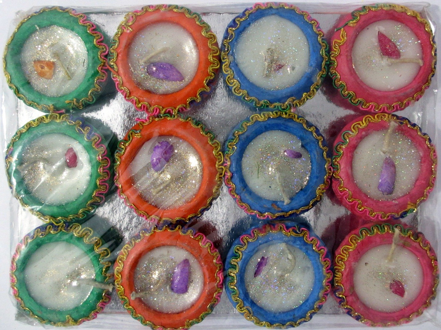 Multicolored Handi Diyas (with wax) - Pack of 12