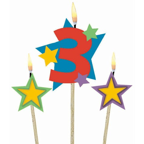 Number 3 Candle and Stars on Stick