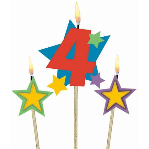 Number 4 Candle and Stars on Stick