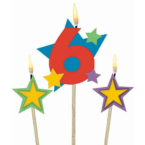 Number 6 Candle and Stars on Stick