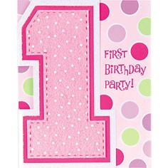 1st Birthday Cupcake Girl Party Invitation Card (Pack Of 8)