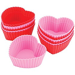 Heart Shaped Silicon Baking Cups (Pack Of 6)