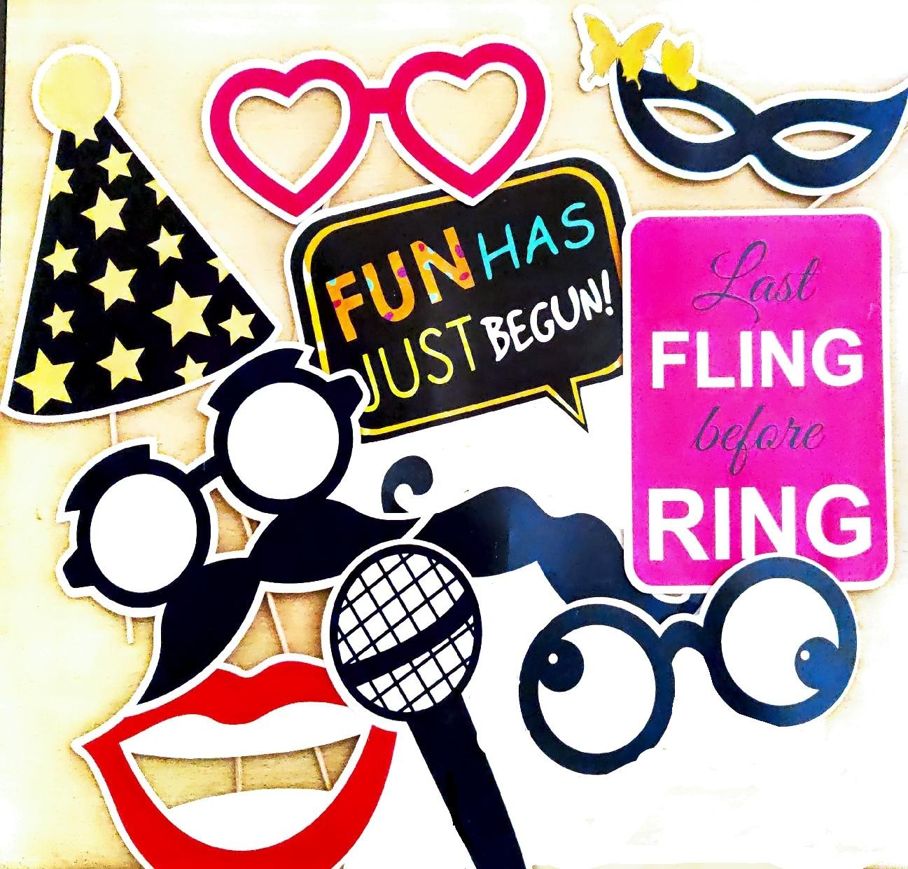Photo Booth Party Props (15 Pieces)