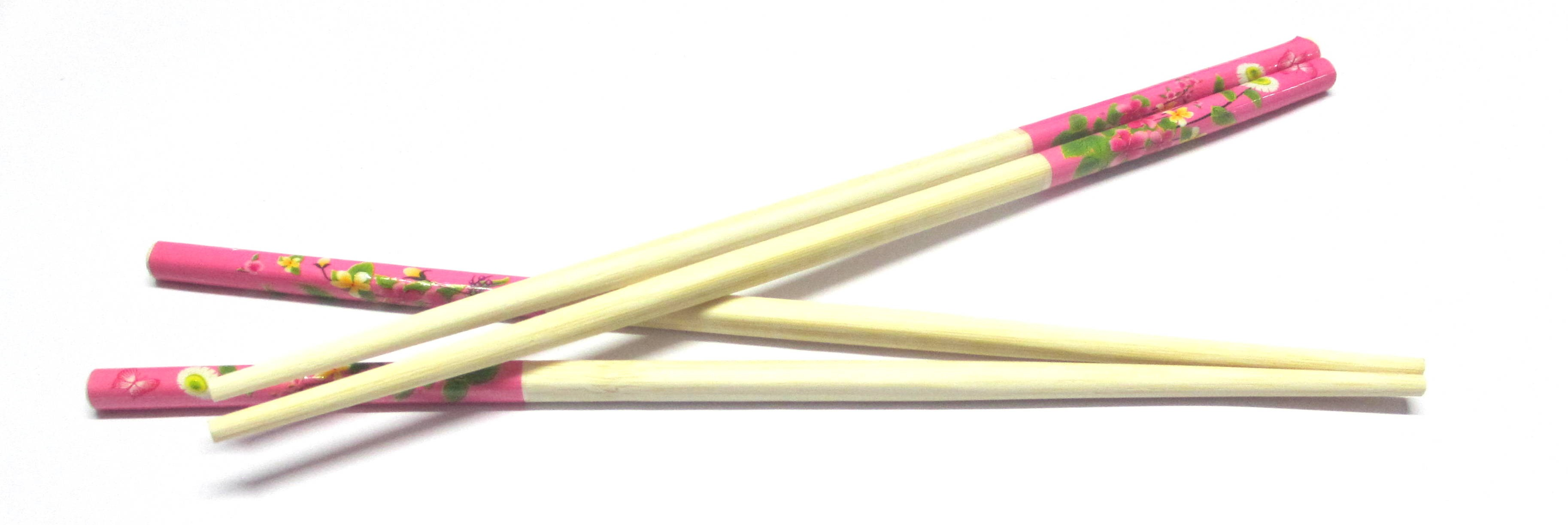 Pink Flower Print Wooden Chopsticks (Set of 10)