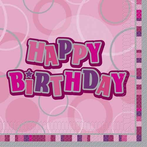Glitz Birthday Premium Paper Napkins (Pink) - Pack Of 16