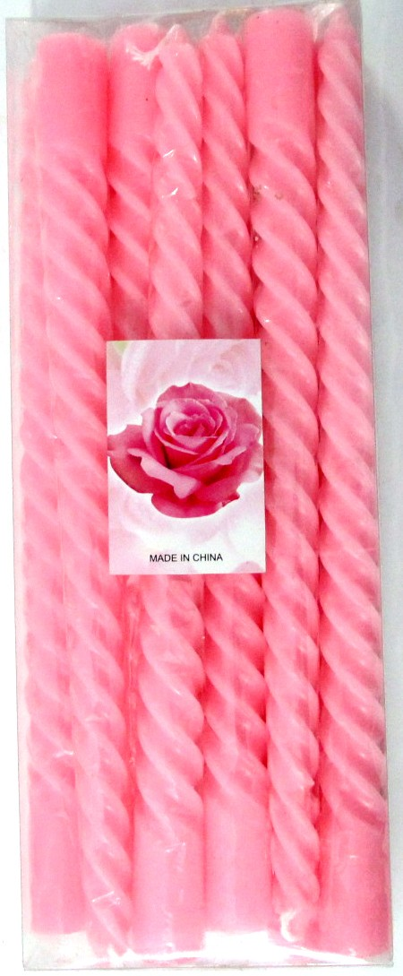 Pink Rose Scented Candles (Pack Of 10)