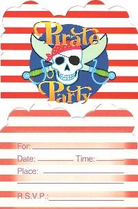 Pirate Party Invitation Cards -Pack of 10
