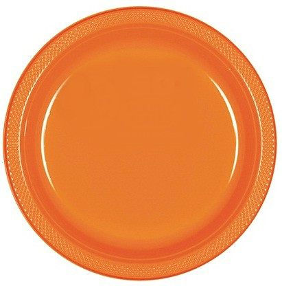 Solid Orange Plastic Dinner Plates ( Pack Of 20)