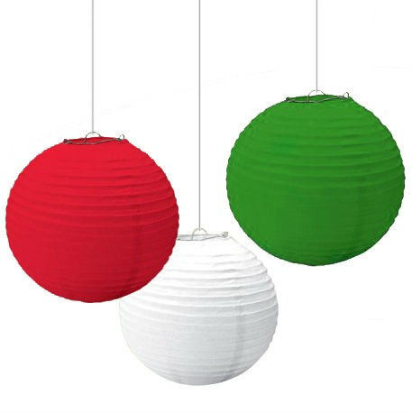 "14"" Red, White & Green Christmas Paper Lantern (Pack Of 3)"