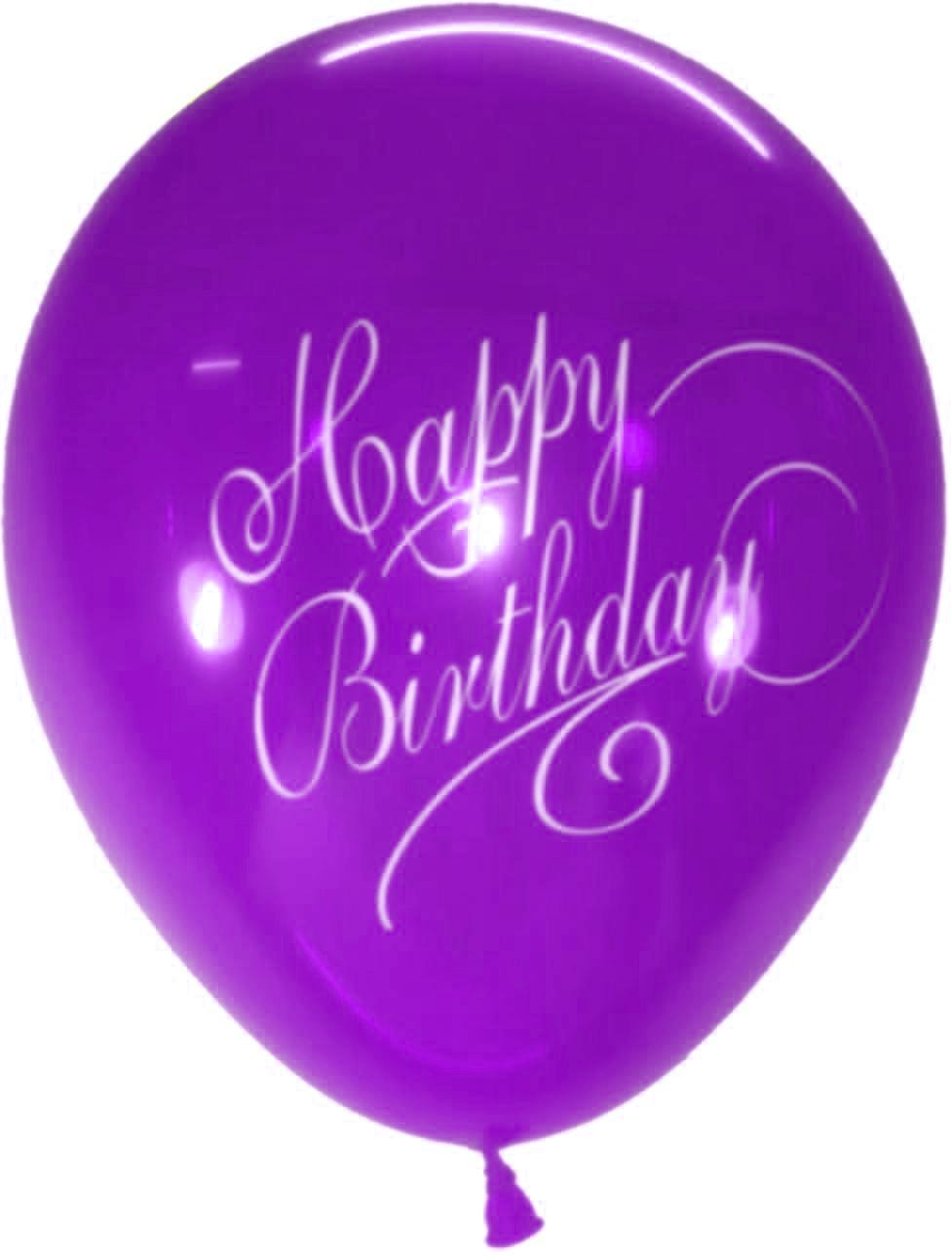Stylish Happy B'day Latex Balloons (Purple) - Pack of 5